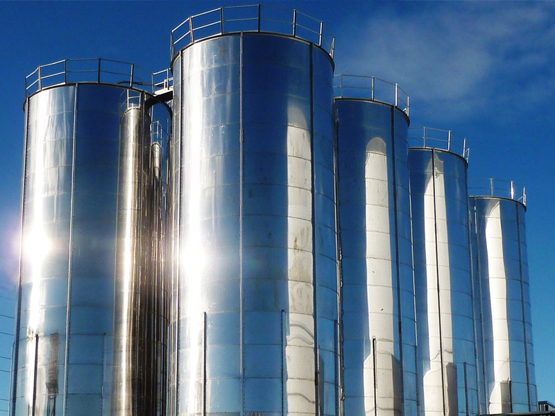 Bolted stainless steel silo 320 tons
