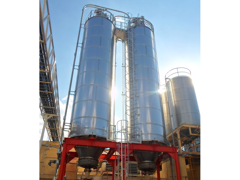 Welded stainless steel silo + support structure